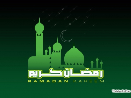 Green Ramadan Kareem Wallpaper With Mosque