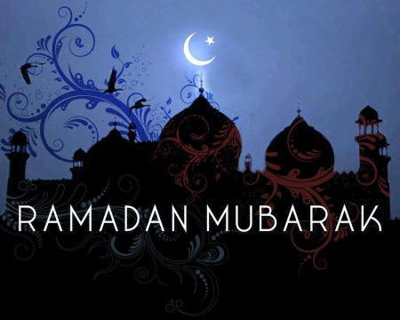 Ramadan Mubarak Wallpaper With Crescent and Mosque