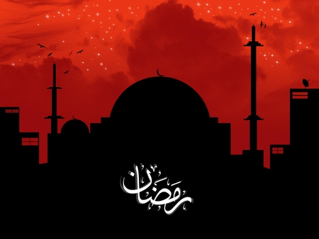 Red and Black Mosque Ramadan Wallpaper