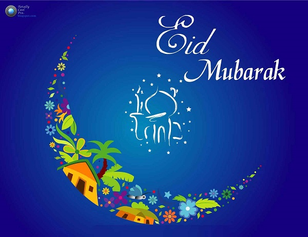 Beautiful Colourful Eid Greeting Wallpaper
