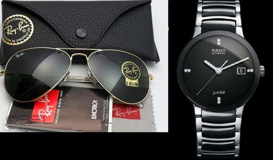 Combo Of 1 Rayban Rb 3025 Sunglasses + Rado Centrix Jubile Silver Watch For Men