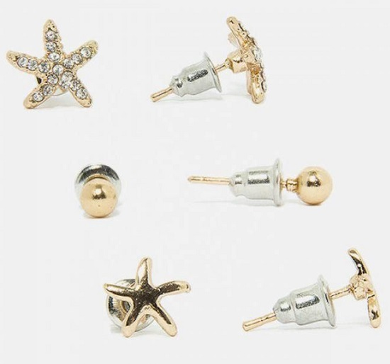 Copper Bundle of 3 - Golden Metal Rhinestone Star Starfish Earrings - E-025B - Buy online Pakistan