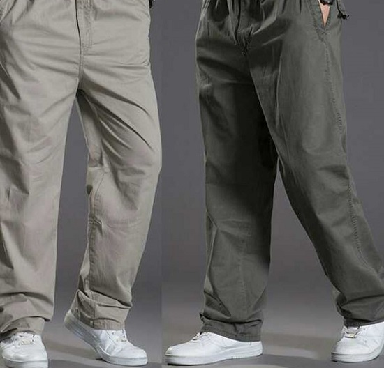 Pack Of 2 Elasticated Cotton Cargo Trousers