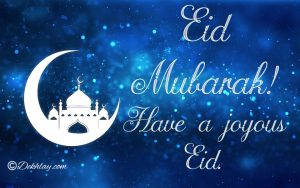 Blue Crescent Happy Eid Mubarak Picture Wallpaper