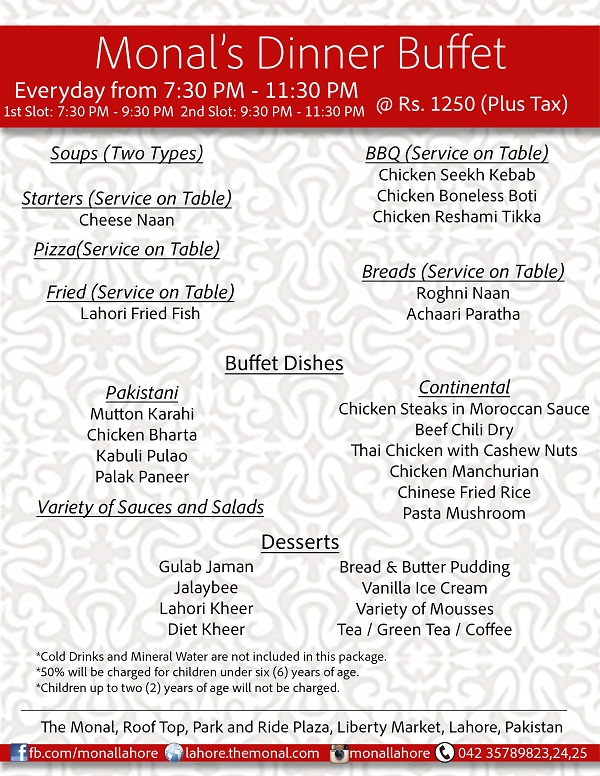 Monal Lahore Dinner Buffet